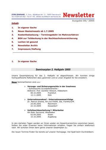 Seminarplan 2. Halbjahr 2005 - Zorn-Seminare