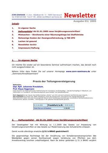 Ausgabe 03/ 2005 Praxis der Teilungsversteigerung - Zorn-Seminare