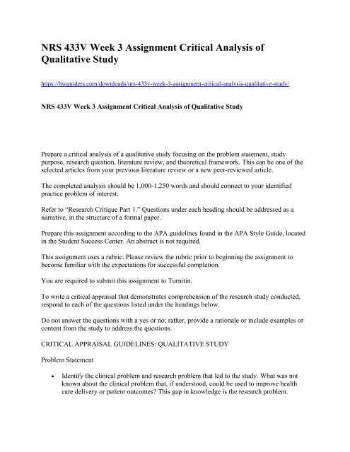 NRS 433V Week 3 Assignment Critical Analysis of Qualitative Study