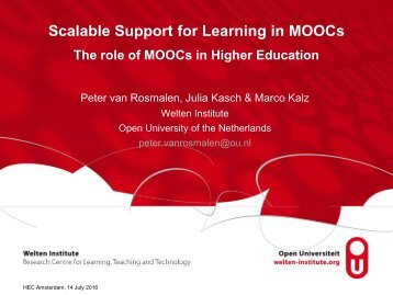 Scalable Support for Learning in MOOCs