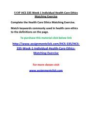 UOP HCS 335 Week 1 Individual Health Care Ethics Matching Exercise
