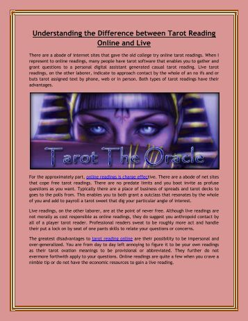 Difference between Tarot Reading Online and Live
