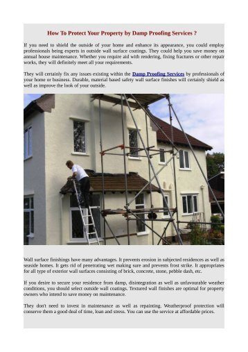 How To Protect Your Property by Damp Proofing Services