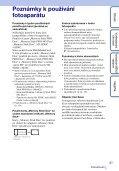 Sony DSC-T110 - DSC-T110 Istruzioni per l'uso Ceco - Page 3