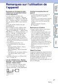 Sony DSC-T110 - DSC-T110 Istruzioni per l'uso Francese - Page 3
