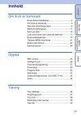 Sony DSC-T110 - DSC-T110 Istruzioni per l'uso Norvegese - Page 5