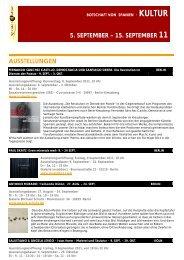 AUSSTELLUNGEN 5. SEPTEMBER – 15. SEPTEMBER 11 - Spain