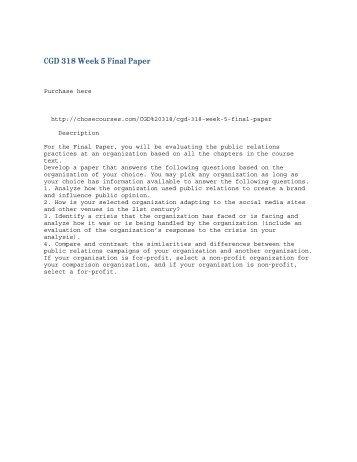 CGD 318 Week 5 Final Paper