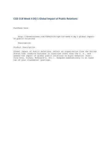 CGD 318 Week 4 DQ 1 Global Impact of Public Relations