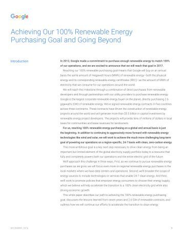 Achieving Our 100% Renewable Energy Purchasing Goal and Going Beyond