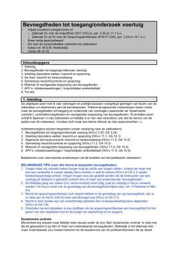 Bevoegdheden tot toegang/onderzoek voertuig