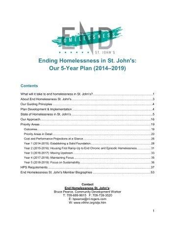Ending Homelessness in St John's Our 5-Year Plan (2014–2019)