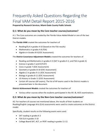Frequently Asked Questions Regarding the Final VAM Detail Report 2015‐2016