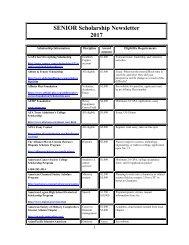 SENIOR Scholarship Newsletter 2017