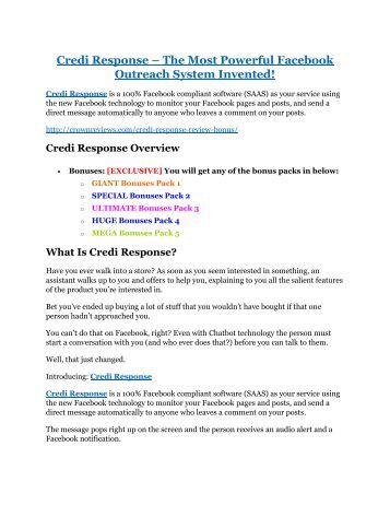 Credi Response REVIEW and GIANT $21600 bonuses