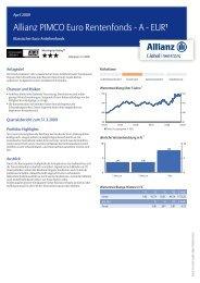 Allianz PIMCO Euro Rentenfonds - A - EUR¹ - MetallRente