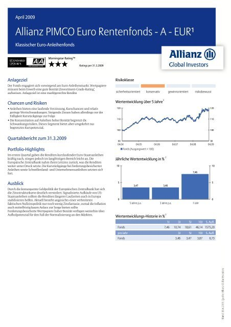 Allianz PIMCO Euro Rentenfonds - A - EUR¹ - MetallRente