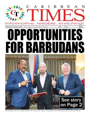 Caribbean Times 52nd Issue - Wednesday 7th December 2016