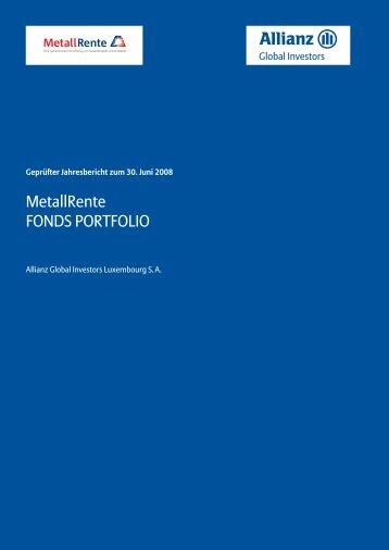 Jahresbericht 06/2008 - MetallRente