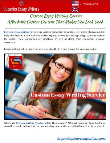 Custom Essay Writing Service - Affordable Custom Content That Makes You Look Good