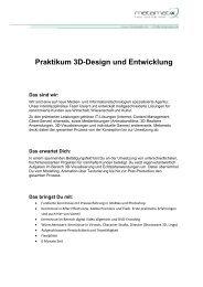 Praktikum 3D-Design und Entwicklung - metamatix AG