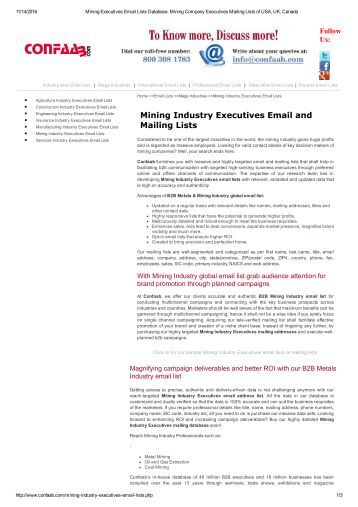 Mailing List of Mining Industry Executive