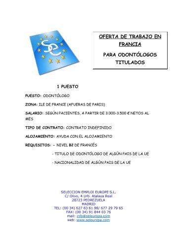 OFERTA DE TRABAJO EN FRANCIA PARA ODONTÓLOGOS TITULADOS