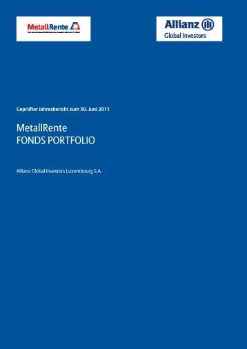 Jahresbericht 06/2011 - MetallRente