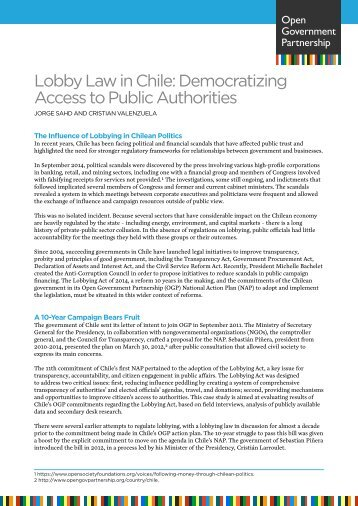 Lobby Law in Chile Democratizing Access to Public Authorities