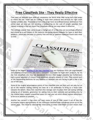 Free Classifieds Site - They Really Effective