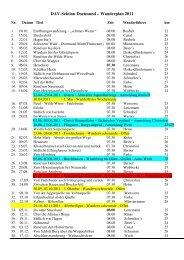 DAV Dortmund Wanderplan 2011 - Deutscher Alpenverein - Sektion ...