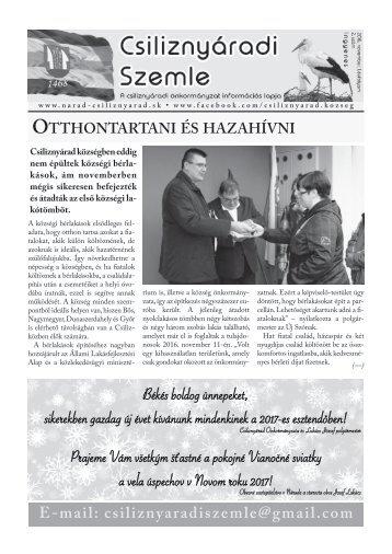 Csiliznyáradi Szemle - Csiliznyárad község információs lapja - 2016/2
