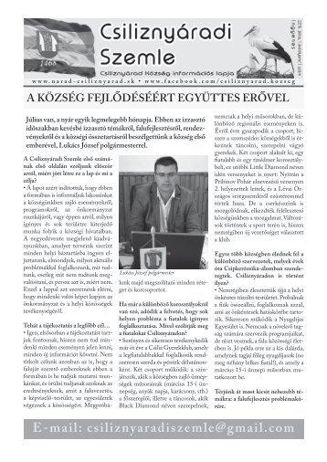 Csiliznyáradi Szemle - Csiliznyárad község információs lapja - 2016/1