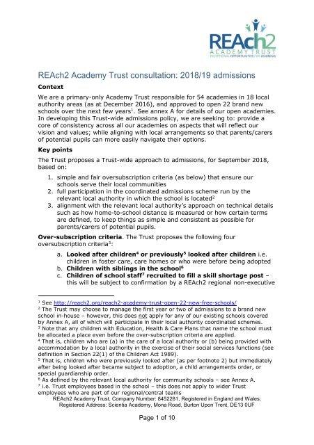 Reach2 Academy Trust >> Reach2 Academy Trust Consultation 2018 19 Admissions