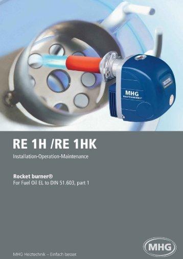 Blue Flame Rocket Burner RE-1H 15-70kW - MHG Heating