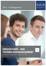 GGS-Broschüre M.Sc. in Management - Innovations- und Technologiemanagement