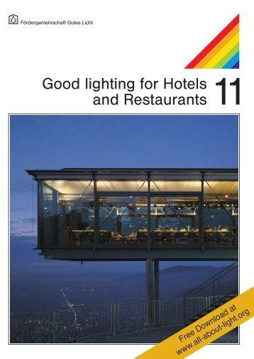 "licht.wissen No. 11 ""Good Lighting for Hotels and Restaurants"""