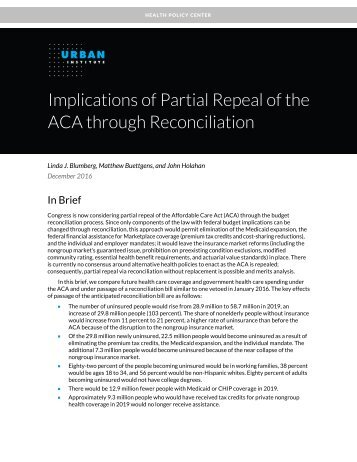 Implications of Partial Repeal of the ACA through Reconciliation