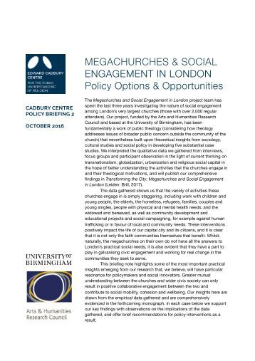 MEGACHURCHES & SOCIAL ENGAGEMENT IN LONDON Policy Options & Opportunities