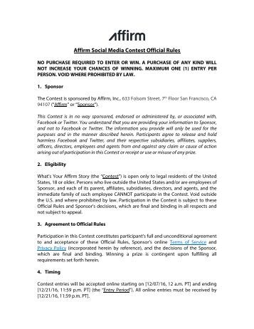 Affirm Social Media Contest Official Rules