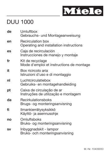 Miele DUU 1000 - Istruzioni d'uso/Istruzioni di montaggio