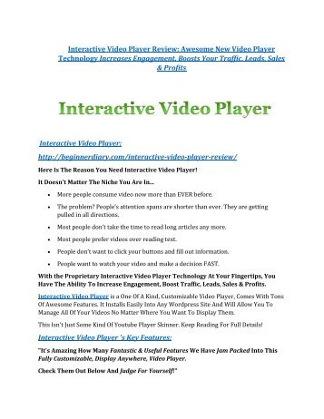 Interactive Video Player Reviews and Bonuses-- Interactive Video Player