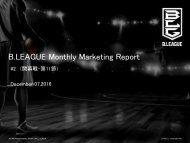 B.LEAGUE Monthly Marketing Report