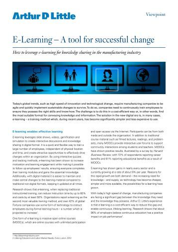 E-Learning – A tool for successful change