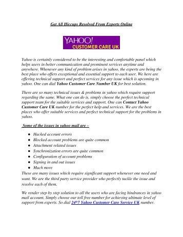 Yahoo Customer Care Service UK | 800 098 8745