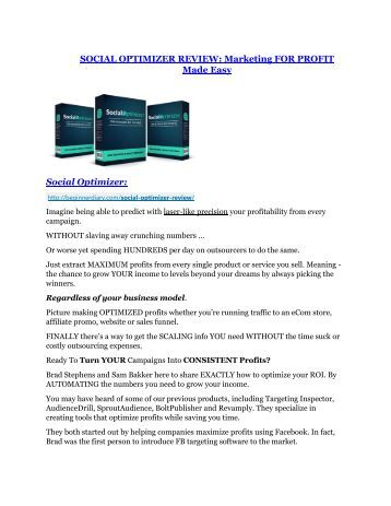 Social Opimizer review - Social Opimizer +100 bonus items