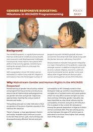 GENDER RESPONSIVE BUDGETING Milestone in HIV/AIDS Programmeming