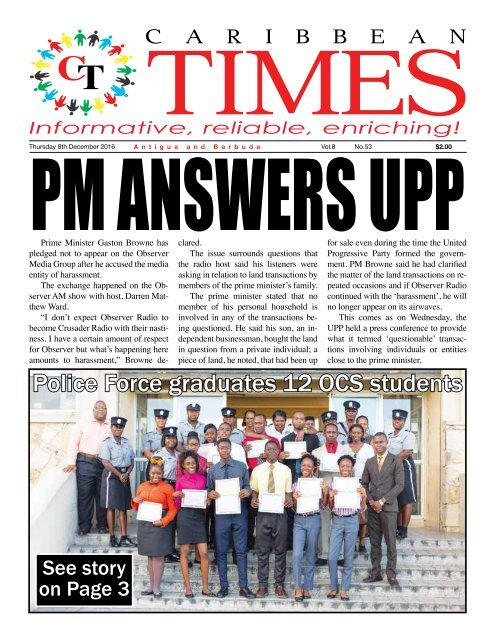Caribbean Times 53rd Issue - Thursday 8th December 2016
