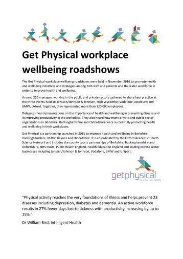 Get Physical workplace wellbeing roadshows