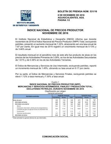 ÍNDICE NACIONAL DE PRECIOS PRODUCTOR NOVIEMBRE DE 2016